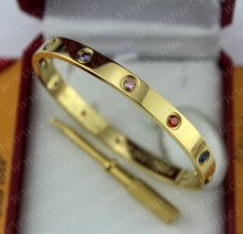 New Arrival Cartier Love Bracelet Yellow Gold Colorful Diamonds B6036417