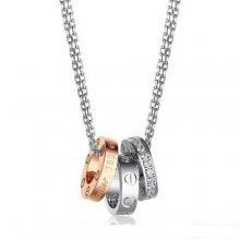 Cartier Love Necklace White Gold Chain With Three 18K Gold Rings