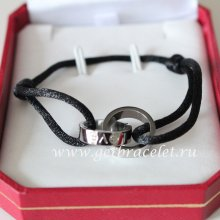 Cartier Double Ring Love Bracelet White Gold Black Rope