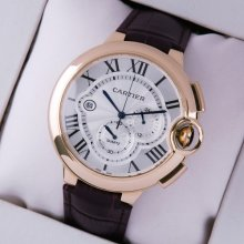 Ballon Bleu de Cartier extra large chronograph watch silver dial 18K pink gold brown leather strap