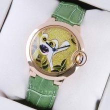 Ballon Bleu de Cartier medium pink gold watch pattern dial green leather strap