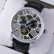 Rotonde de Cartier tourbillon skeleton watch for men steel black leather strap