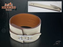 Hermes Fleuron Large Leather Bracelet White With Silver
