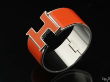 Hermes Orange Enamel Clic H Bracelet Narrow Width (33mm) In Silver