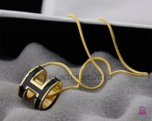 "Hermes 3D Pop ""H"" logo Snake Bone Black Necklace in Yellow Gold"