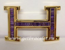 Hermes Reversible Belt 18k Gold With Purple Diamonds H Buckle