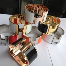 Hermes Clic H Enamel Bracelet Extra Large With Gold/Silver/Pink Gold