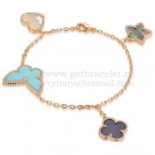 Van Cleef & Arpels Lucky Alhambra 4 Motifs Bracelet Pink Gold With Stone Combination