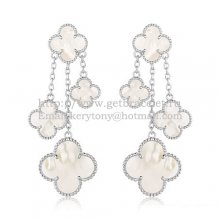 Van Cleef & Arpels Magic Alhambra 4 Motifs Earrings White Gold With White Mother Of Pearl