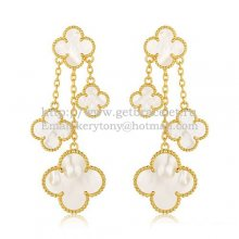 Van Cleef & Arpels Magic Alhambra 4 Motifs Earrings Yellow Gold With White Mother Of Pearl