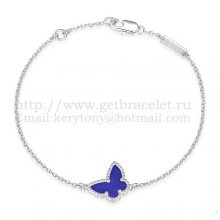 Van Cleef & Arpels Sweet Alhambra Butterfly Bracelet White Gold With Lapis Stone Mother Of Pearl