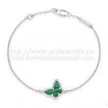 Van Cleef & Arpels Sweet Alhambra Butterfly Bracelet White Gold With Malachite Mother Of Pearl