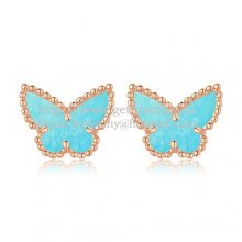 Van Cleef & Arpels Sweet Alhambra Butterfly Earrings Pink Gold With Turquoise Mother Of Pearl