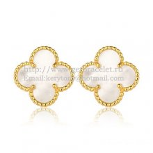 Van Cleef & Arpels Sweet Alhambra Earrings 15mm Yellow Gold With White Mother Of Pearl