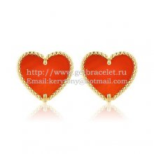 Van Cleef & Arpels Sweet Alhambra Heart Earrings Yellow Gold With Carnelian Mother Of Pearl