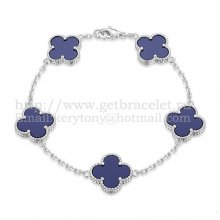 Van Cleef & Arpels Vintage Alhambra Bracelet 5 Motifs White Gold With Lapis Mother Of Pearl