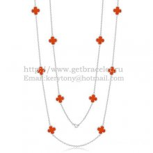 Van Cleef & Arpels Vintage Alhambra Necklace White Gold 10 Motifs With Carnelian Mother Of Pearl