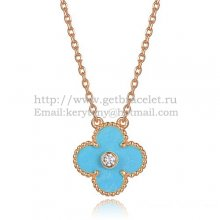 Van Cleef & Arpels Vintage Alhambra Pendant Pink Gold With Turquoise Mother Of Pearl Round Diamonds