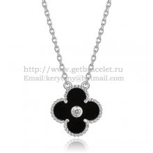 Van Cleef & Arpels Vintage Alhambra Pendant White Gold With Black Agate Mother Of Pearl Round Diamonds