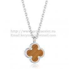 Van Cleef & Arpels Sweet Alhambra Pendant White Gold With Tiger's Eye Mother Of Pearl 9mm