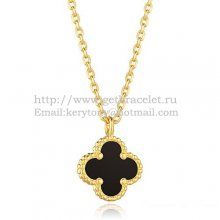 Van Cleef & Arpels Sweet Alhambra Pendant Yellow Gold With Black Agate Mother Of Pearl 9mm