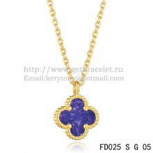 Van Cleef & Arpels Sweet Alhambra Pendant Yellow Gold With Lapis Stone Mother Of Pearl 9mm