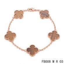 Replica Van Cleef & Arpels Alhambra Bracelet In Pink With 5 Gradient Red Clover