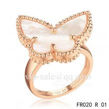 Fake Van Cleef Alhambra Ring In Pink Gold With Mother Of Pearl