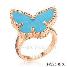 Fake Van Cleef Alhambra Ring In Pink Gold With Turquoise