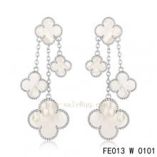 Fake Van Cleef & Arpels White Mother Of Pearl White Gold Earrings