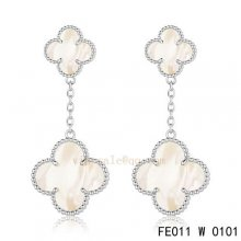 Fake Van Cleef & Arpels Alhambra White Gold Earrings White Mother Of Pearl