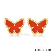 Cheap Van Cleef & Arpels Butterflies Carnelian Yellow Gold Earrings