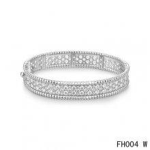 Van Cleef Arpels Perlee Bracelet with Diamonds White Gold-Medium Model