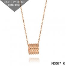 Van Cleef and Arpels Pink Gold Perlee Pendant 5 rows
