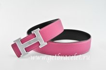 Hermes Reversible Belt Pink/Black Classics H Togo Calfskin With 18k Silver With Logo Buckle