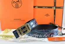Hermes Reversible Belt Blue/Black Crocodile Stripe Leather With18K Gold Lace Strip H Buckle