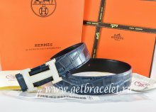 Hermes Reversible Belt Blue/Black Crocodile Stripe Leather With18K White Silver H Buckle
