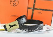 Hermes Reversible Belt Black/Black Ostrich Stripe Leather With 18K Gold Hollow Horse Buckle