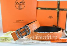 Hermes Reversible Belt Orange/Black Ostrich Stripe Leather With 18K Silver Lace Strip H Buckle