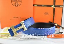 Hermes Reversible Belt Blue/Black Ostrich Stripe Leather With 18K Gold Stripe Logo H Buckle