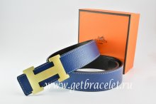 Hermes Reversible Belt Dark Blue/Black Togo Calfskin With 18k Gold H Buckle