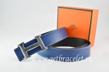 Hermes Reversible Belt Dark Blue/Black Togo Calfskin With 18k Drawbench Silver H Buckle