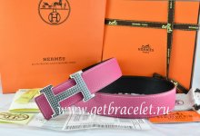Hermes Reversible Belt Pink/Black Togo Calfskin With 18k Gold Wave Stripe H Buckle