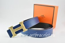 Hermes Reversible Belt Dark Blue/Black Togo Calfskin With MenWo18k Drawbench Gold H Buckle