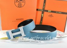 Hermes Reversible Belt Blue/Black Togo Calfskin With 18k Silver Wave Stripe H Buckle