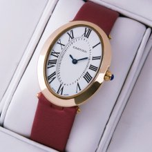 Cartier Baignoire 18K pink gold womens watch replica crimson satin strap