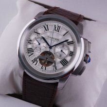 Calibre de Cartier Flying Tourbillon calendar mens watch steel white dial brown leather strap
