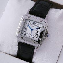 Cartier Santos 100 quartz midsize watch imitation stainless steel black leather strap