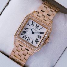 Cartier Santos Demoiselle 18K pink gold diamond swiss watch for women