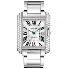 Cartier Tank Anglaise extra large diamond bezel 18K white gold mens watch WT100010
